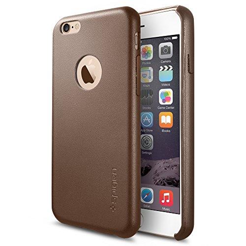 """iPhone 6 (4,7"""") (2014) Coque, Spigen® [REVETEMENT EN CUIR] iPhone 6 (4,7"""") (2014) Coque Fine **NOUVEAU** [Leather Fit] [Olive Brown] Coque Rigide et Fine avec Revêtement en Cuir pour iPhone 6 (4,7"""") (2014) - Olive Brown (SGP11356)"""
