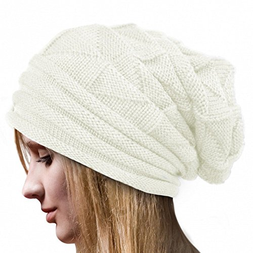 Koly® Women's Winter Crochet Hat Wool Knitted Beanie Warm Cap (White)