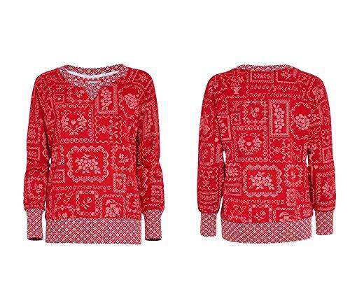 Damen Pyjama Oberteil Langarm Rot