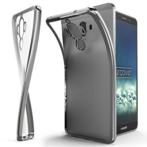 Urcover® Huawei Mate 9 Handyhülle Silber | TPU Silikon Schutzhülle durchsichtig | Spiegelrand Hülle Transparent | Slim Cover Tasche | dünne Schale | Back-Case flexibel | Smartphone Zubehör