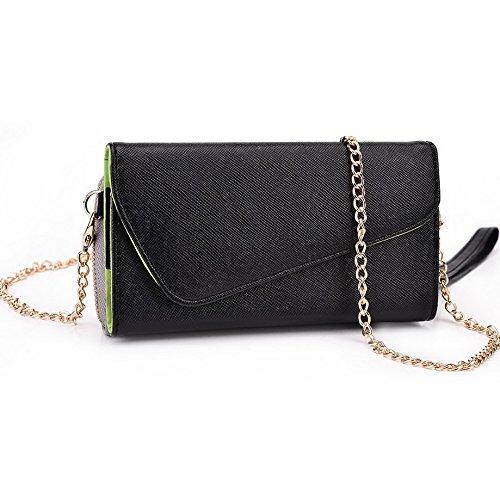 Kroo d'embrayage portefeuille avec dragonne et sangle bandoulière pour Sony Xperia/ Black and Orange Noir/gris