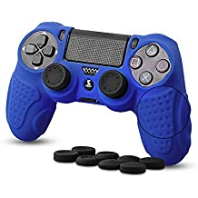 CHIN FAI PS4 Controller Schutz-Hülle, Silikon Anti-Rutsch 8 Daumen Griffe Skin Grip Schutzhülle für Sony PS4 / Slim/Pro Controller(Blau)
