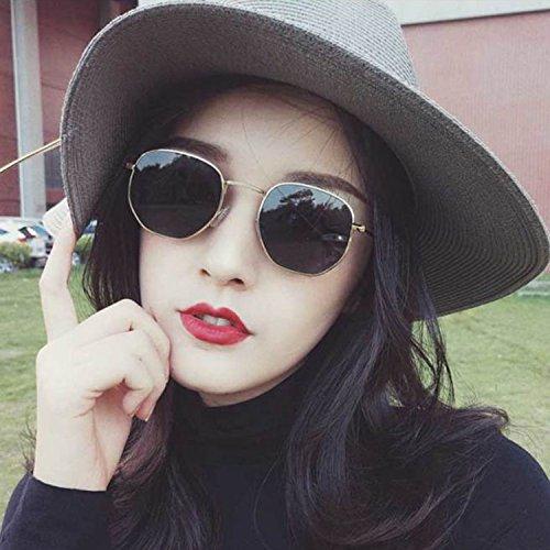 Sunyan Kleines Quadrat Gesicht rund dünne Frauen Sonnenbrille gute UV-Star elegante Persönlichkeit Trends in Europa und Nordamerika, Gold frame Asche Blatt