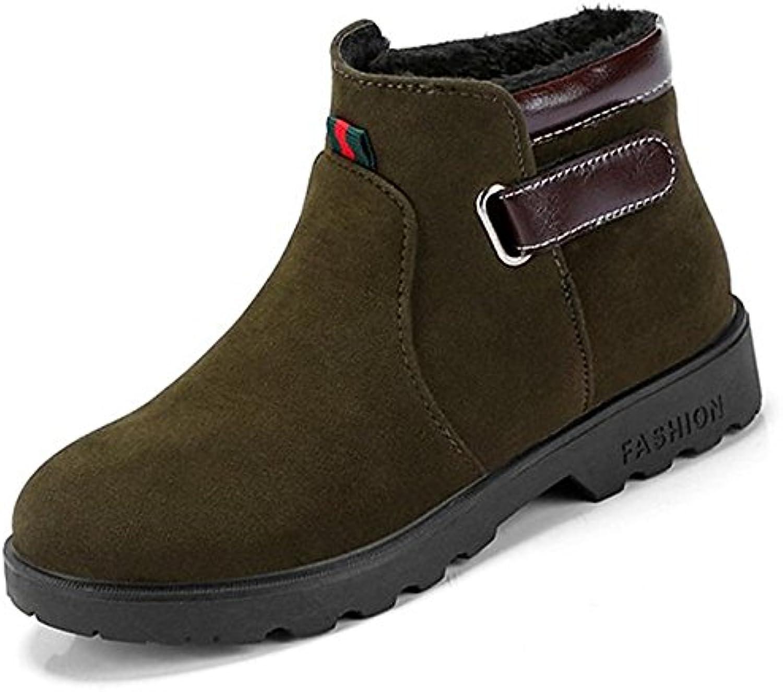 ZHZNVX HSXZ Zapatos de Mujer Invierno PU Confort Botas de Tacón Plano Ronda Toe para ejército Negro Casual Ejército...
