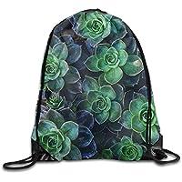 ewtretr Bolsos De Gimnasio, Succulent Plants Floral Unisex Drawstring Backpack Travel Sports Bag