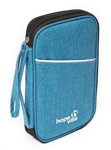 HOPEVILLE Reisedokumententasche mit RFID Schutz, Hochwertiger Reiseorganizer und Dokumententasche für alle Reiseunterlagen und Dokumente (blau)