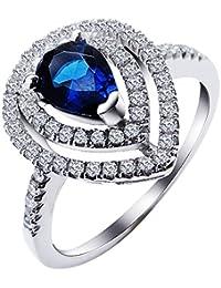 925 plata esterlina del elemento del Swarovski azul para mujer anillo de compromiso Solitario