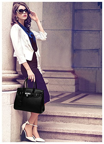 Greeniris PU Leder Handtasche Damen Schultertaschen Shopper Top Griff Tasche Orange 1 Schwarz