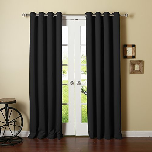 Best Home Fashion Thermal Insulated Blackout Curtains - Antique Bronze Grommet Top - Black - 52W x 90L - (Set of 2 Panels) by Best Home Fashion