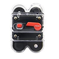 ZOOKOTO 12V-24V DC 50A 60A 100A 200A 250A Circuit Breaker, Trolling Motor Auto Car Marine Boat Bike Stereo Audio Inline Fuse Inverter with Manual Reset with Waterproof Cover 100A Black HT-FX-Cover100A