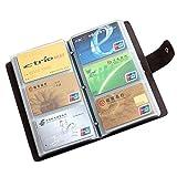Visitenkartenmappe Visitenkartenbuch ECHT LEDER - für 120 Karten - zweifacher Druckknopfverschluss für extra großes Fassungsvermögen zur Visitenkarten Aufbewahrung