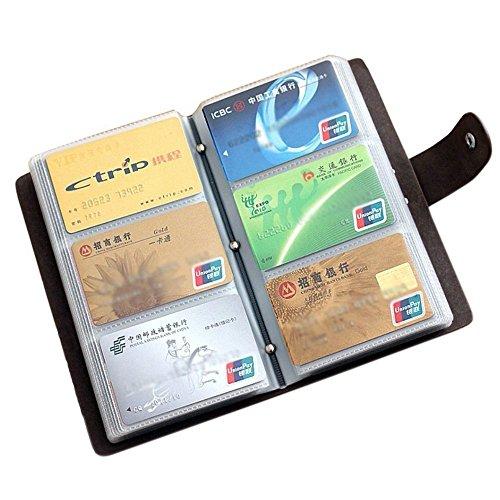 Echt Leder Visitenkartenmappe - für 120 Karten - zweifacher Druckknopfverschluss für extra großes Fassungsvermögen zur Visitenkarten Aufbewahrung