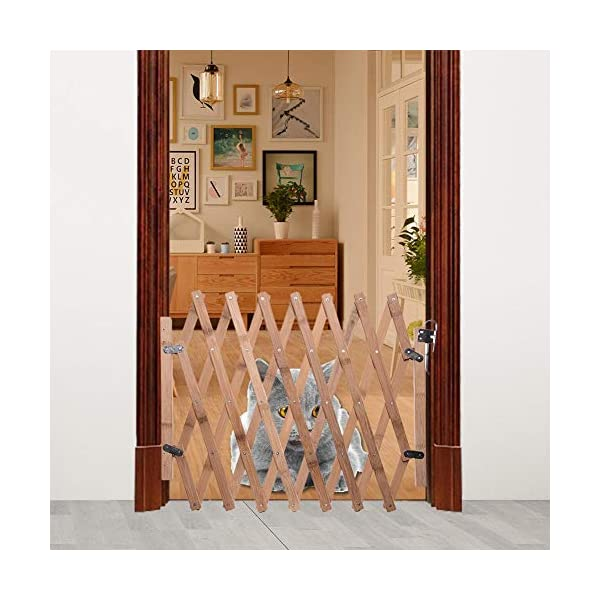 Pet Expanding Wooden Fence Gate,Retractable Dog Screen Sliding Door Gates Doorways Freestanding Portable Dog Cat Gate Safety for Home Patio Garden Lawn cheerfulus-123 Pet Wooden Door Fence: The wooden fence gate allows pets to stay away from dangerous areas while providing a safe fence for play and rest Retractable Dog Gate: The length is about 60-110cm,the distance that can be stretched when used,can be shrunk when not in use Easy Installation: The wood pet fence has two screws fixed on one side, and the other side is designed as a buckle for easy access 8