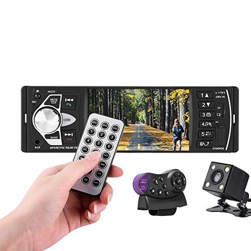 Reproductor MP5 para coche, 4.1 pulgadas HD Bluetooth Reproductor de video MP5 para automóvil Reproductor de música Radio FM Teléfono manos libres AUX TF USB Control remoto inalámbrico(con cámara)