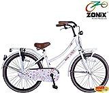 Zonix Mädchen Hollandrad Weiß / Design 24 Zoll mit Frontträger