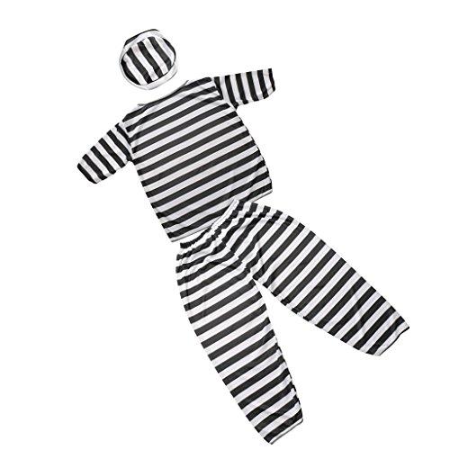 MagiDeal Einfaches Kostüm für Sträfling Gefangene - Junge