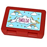 Brotdose mit Namen Emilia - Motiv Einhorn, Lunchbox mit Namen, Brotdose Rot - Frühstücksdose Kunststoff lebensmittelecht