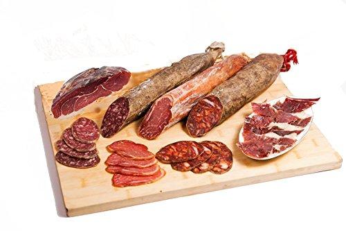 Lotto Iberici di cebo di Guijuelo, compreso di salame iberico, salsiccia iberica, lombo iberico e prosciutto iberico a quadretti. Elaborati con carne magra di maiale iberico - Maiale Cotto