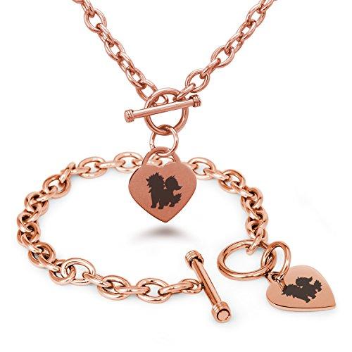 rose-gold-plated-stainless-steel-1st-gen-arcanine-pokemon-heart-charm-bracelet-necklace-set