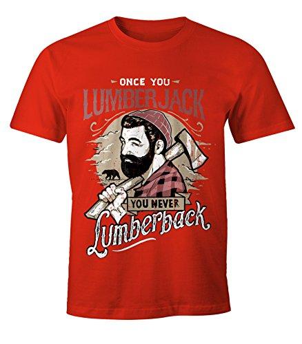 Herren T-Shirt Lumberjack Holzfäller Hipster Bart Beard Lumberback Moonworks® Rot