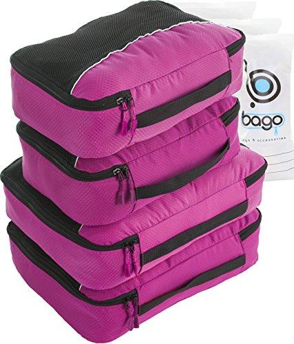 4Pz Bago Cubi Di Imballaggio - Set per Viaggi (2+2-Pink)+ 6Pz Sacchetti Organizzatori per i bagagli