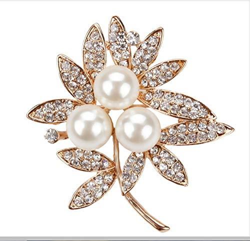 Fantastische Kristall Strasssteine   Pave Leaf Bejeweled Brosche Pins mit 3 Nachahmungsperlen für Damen Bejeweled Damen