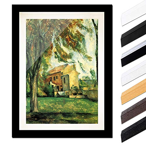 Bild mit Rahmen - Paul Cézanne Jas de Bouffan 30x40cm ca. A3 - Gerahmter Kunstdruck inkl. Galerie Passepartout Alte Meister - Rahmen schwarz glatt -