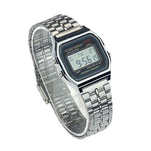 Limpieza Bescita. Reloj de Pulsera con Alarma Digital de Acero Inoxidable para Hombre y Mujer, Estilo Vintage Plata