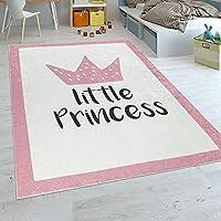 Paco Home Tapis Enfant Chambre Enfant Filles Tapis Bébé Lavable Princesse Inscription Rose, Dimension:160x230 cm