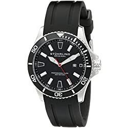 Stuhrling Original Regatta Bracera Men's Quartz Watch with Black Dial Analogue Display and Black Silicone Strap 706.01