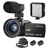 CofunKool 4K Camcorder Ultra HD 60FPS WiFi Videokamera 48MP 3.0 Zoll IPS Touchscreen Nachtsicht Digital Video Camcorder mit Mikrofon, LED Licht, Weitwinkelobjektiv, Schultertasche