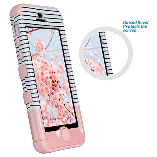 Coque iPhone 5c, ULAK iPhone 5c Case Housse de Protection Anti-choc Matériaux Hybrides en Silicone Souple et PC dur Coque pour Apple iPhone 5c (Or Rose) 3in1-Or Rose Stripes