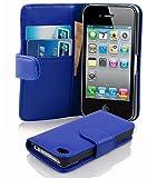 Cadorabo Hülle für Apple iPhone 4/ iPhone 4S Hülle in BRILLANT blau Handyhülle mit Kartenfach aus Glattem Kunstleder Case Cover Schutzhülle Etui Tasche Book Klapp Style Brilliant-Blau