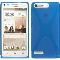 PhoneNatic Case für Huawei Ascend G6 Hülle Silikon blau X-Style + 2 Schutzfolien