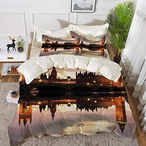 Yaoni Bettwäsche-Set, Mikrofaser, Urban, Surreal Abend im Big Ben London Historische Architektur British Town UK Szene, Zimtgrau,1 Bettbezug 220 x 240cm + 2 Kopfkissenbezug 80x80cm (British-bettwäsche-set)