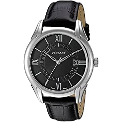 Versace Men's 'APOLLO' Swiss Quartz Stainless Steel and Black Leather Casual Watch (Model: V10010015)