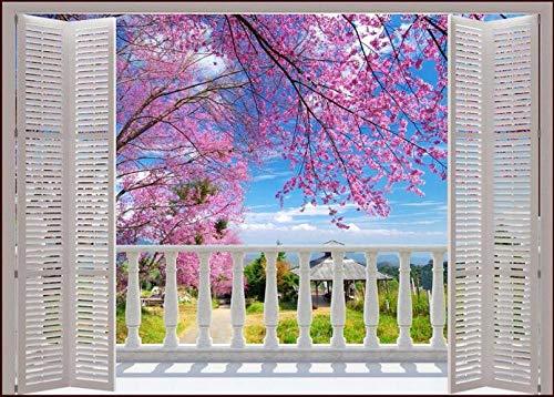 Wandbild Hintergrundbild Fototapete 3D Gefälschte Fenster Romantische Kirsche Schlafsofa Schlafzimmer Wohnzimmer Dekoration Tapete @ 200 * 140Cm