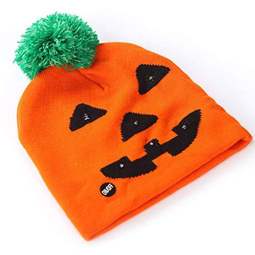 PLOT Damen Strickmütze Halloween LED Beanie Kürbis Mützen Unisex Skimütze Wintermütze Bunter Knit Hut Kappen Geschenke Baskenmütze