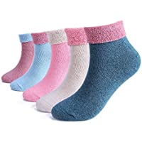 ElifeAcc 5 Pares Mujeres Tejer de invierno Espesar Calcetines de algodón cálido Calcetines térmicos Patrones variados