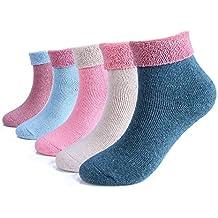 5 pares de invierno de las mujeres que hacen punto espesan calcetines de algodón calientes calcetines