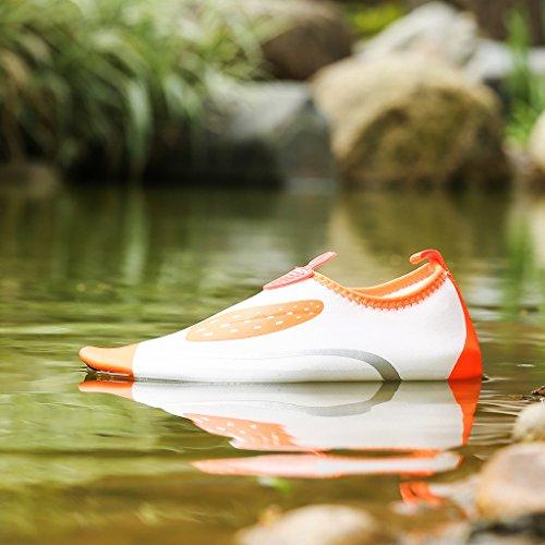 DoGeek Scarpe per Nuoto SandaliBambina Water Shoes Scarpe Da Mare Scarpe Nero Giardini Acqua Scarpe Ciabatteda Pantofole Spiaggia Pelle sandali Bianca-arancia