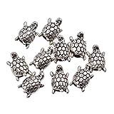 YNuth 10pcs Dreadlock Beads Anillos de Rastas Abalorios de Rastas para Decoración de Pelo Trenzado Diseño Tortuga Tono Plateado