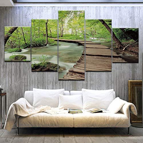 QWERGLL Leinwand mit 5 Feldern 5 Panel Hd Print Grün Wald Holz Brücke Wand Poster Druck Auf Leinwand Kunst Malerei Für Zuhause Wohnzimmer Dekoration -