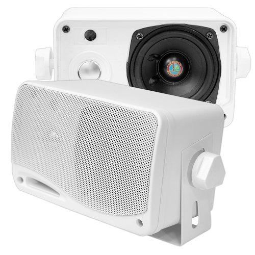Pyle Wasserdichte Lautsprecher 3.5-Zoll-200-Watt 3-Wege Wetterfeste Mini Box, Weiß, PLMR24 (Dome Tweeter)