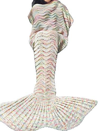 iEFiEL Mädchen Damen Kostüm Meerjungfrau Fischschwanz Decke Schwanz Flosse Handgemachte Schlafsack Blanket Kostüm Häkel Erwachsene Decke