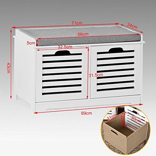 SoBuy® moderne Schuhtruhe,Sitzkommode mit 2 Körben,Sitzbank, Schuhschrank mit Sitzkissen,Spieltruhe, FSR23-K-W -