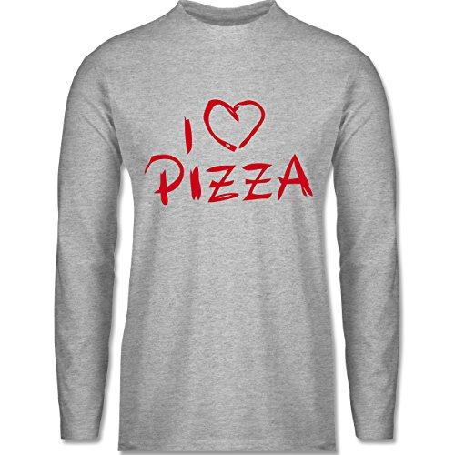 Shirtracer Küche - I Love Pizza - Herren Langarmshirt Grau Meliert