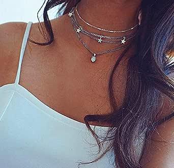 Jovono argento multistrato collana girocollo stella nappa opale pendente collana catena di gioielli per donne e bambine