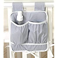 Betttasche 28x35cm Spielzeugtasche für Babybett Kinderbett Hängeutensilo Utensilo grau