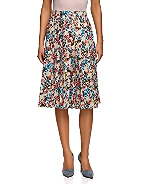 oodji Collection Mujer Falda Midi con Pliegues